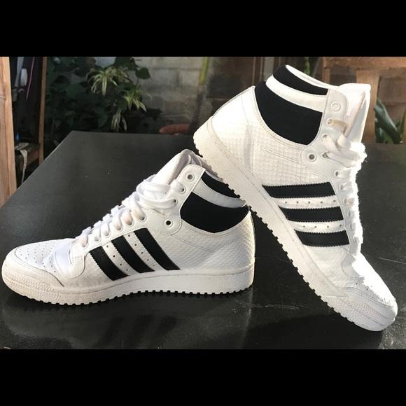 Adidas Top Ten Hi White and Black